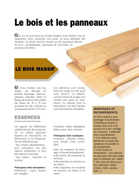 Le bois et les panneaux