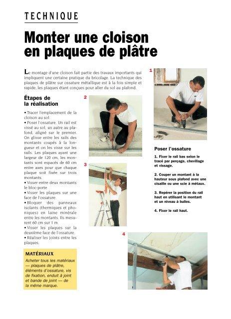 Monter une cloison en plaques de plâtre